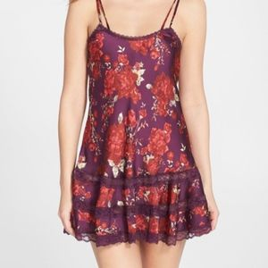 Floral Print Satin Slip with Lace Trim Free People